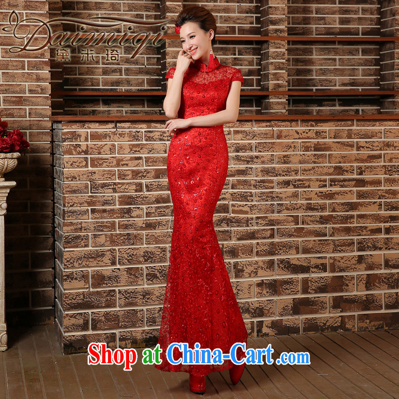 At Merlion, collar cheongsam red toast serving Chinese marriages yarn long beauty evening dress dress short-sleeved red XXL