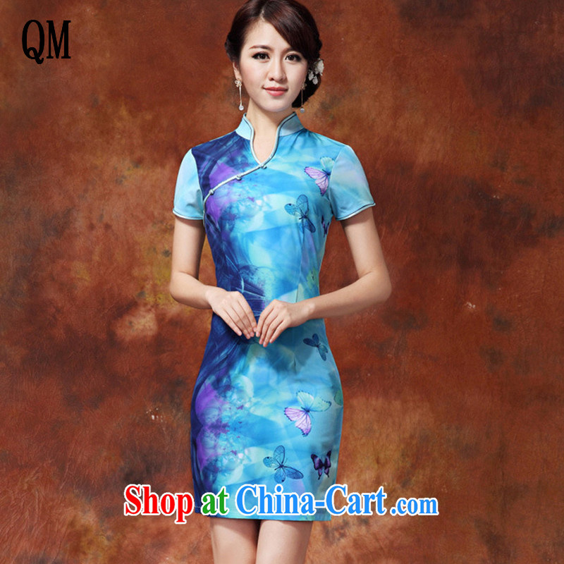 Shallow end milk silk poster cool short dresses retro, for Chinese qipao dress improved daily solid summer skirt girl AQE 918 blue XXL