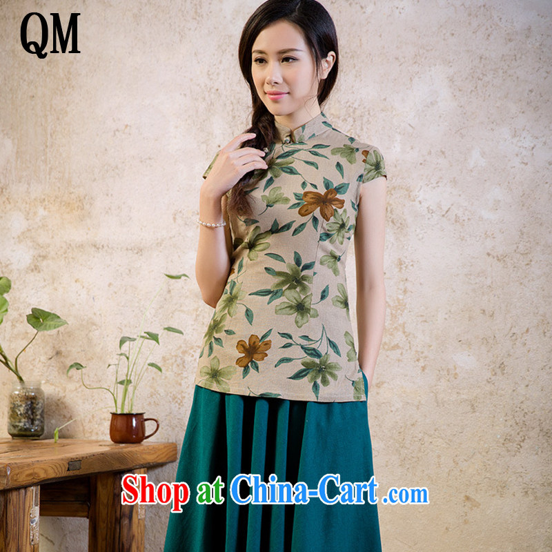 light at the national wind women cotton the stamp cheongsam shirt short-sleeved College wind load Chinese shirt AQE 2062 fancy XXL