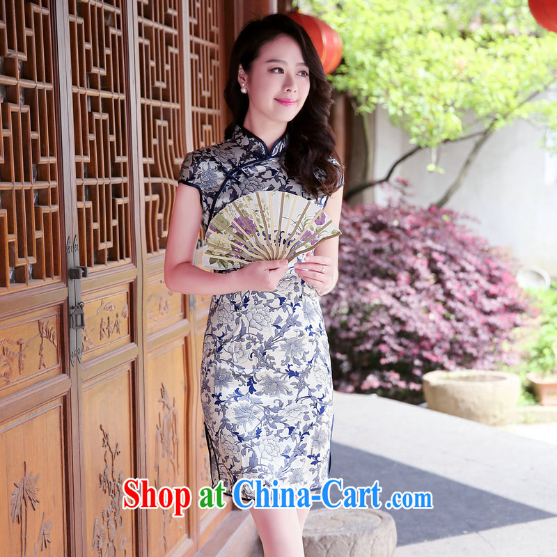 2015 summer new Chinese jacquard retro ethnic wind side on the truck cheongsam dress and elegant beauty graphics thin stamp lady A glyph short-sleeved dress blue and white porcelain S