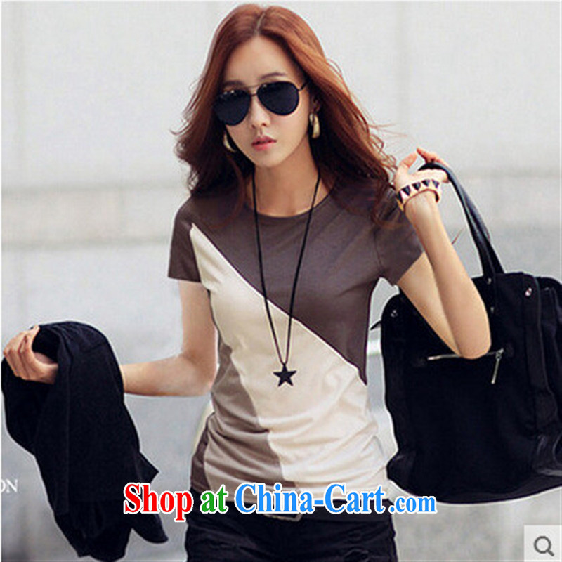 Summer new female solid T-shirt Han version cultivating graphics thin half sleeve cotton stitching short-sleeved T-shirt woman brown XXL