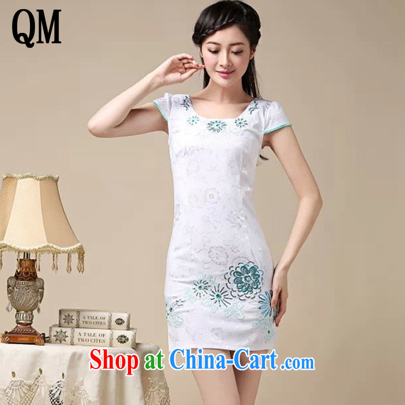 light at the Arts small fresh lady aura short cheongsam dress beauty graphics thin retro dress dresses AQE 0762 blue XXL
