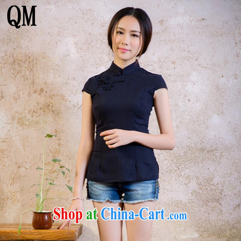 light at the 2015 summer cotton Ma Tang Replace T-shirt retro improved day-costumed Korea small shirt 100 ground shirt AQE 2062 Tibetan cyan XXL