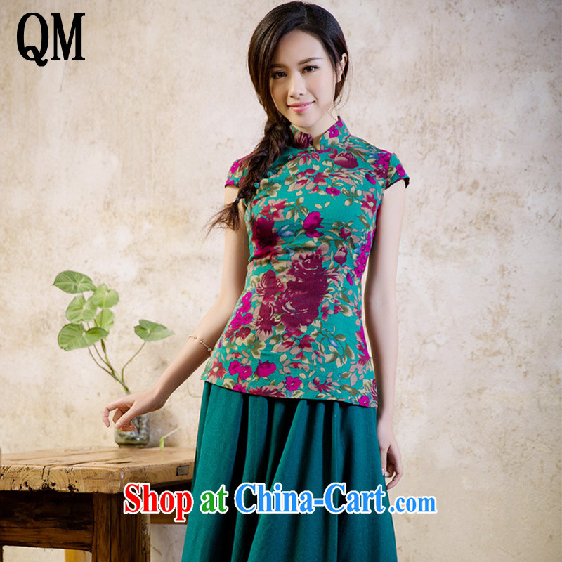 Very late summer 2015 with retro style linen dresses T-shirt Ethnic Wind girl with a short-sleeved shirt AQE 2062 fancy XXL