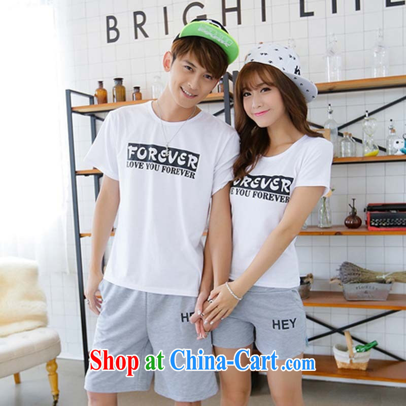 2015 couples with Summer Package short-sleeve pants seaside resort men and women half sleeve T-shirt shorts red T shirt + black trousers female L