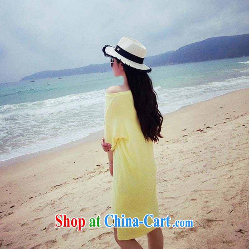 2015 new summer wear short-sleeved T-shirt large, female with loose, long, solid T-shirt T-shirt woman white are code