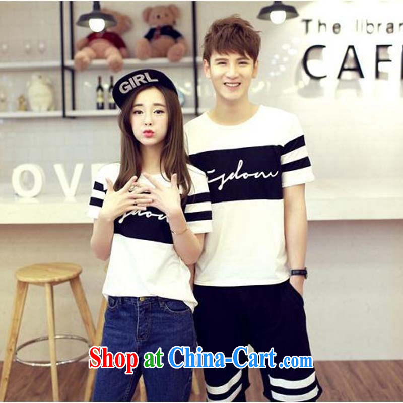 2015 couples new summer hit color stamp round-collar T fund flows between men and women Korean round-collar cultivating short-sleeved, serving white 2XL