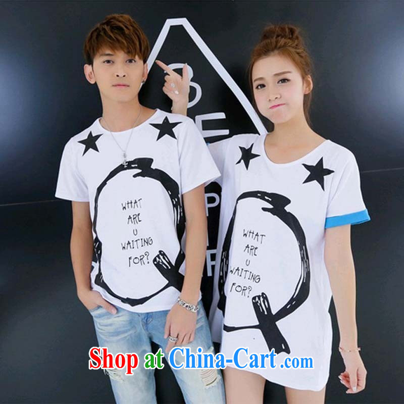 beach lovers with summer dresses 2015 new Korean version of the greater number of women summer half sleeve on cultivating their short-sleeved T-shirt white male XXL