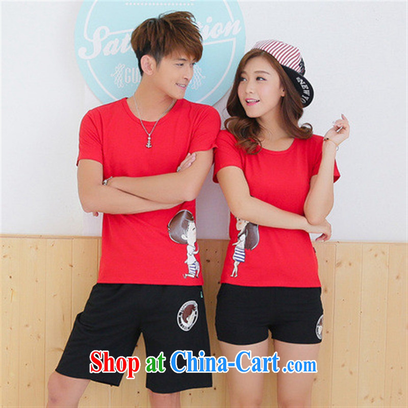 For Couples with summer Korean version T shirts shorts Kit 2015 new short-sleeved qlz beach men and women with red T shirt + Black trousers male XXL