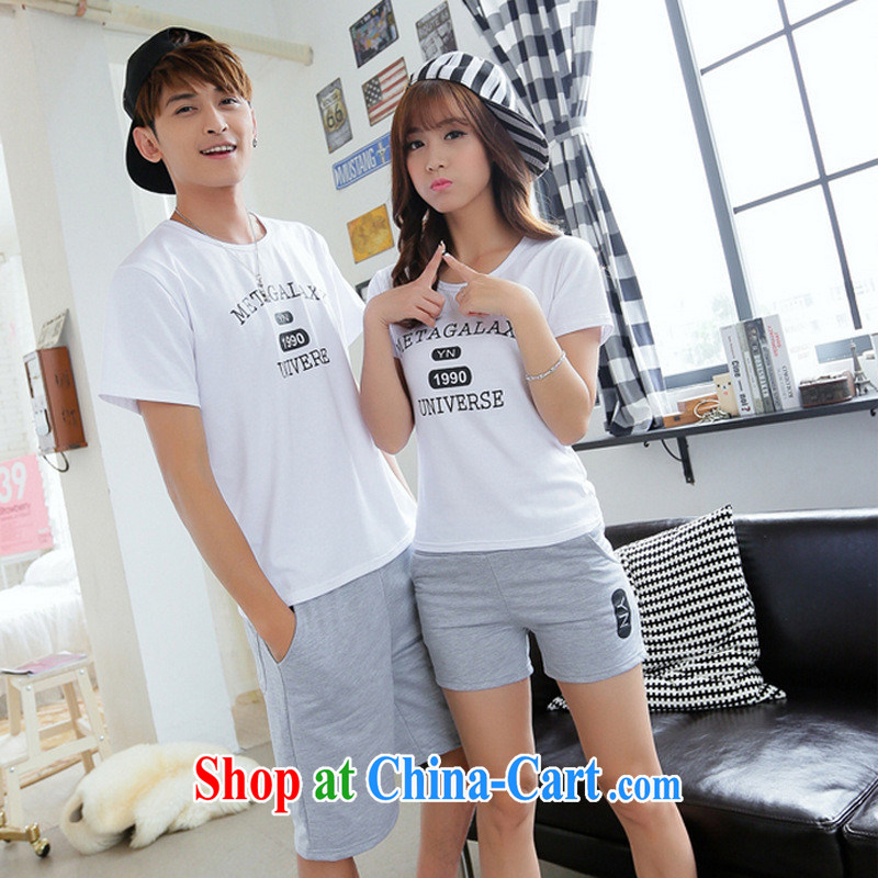 2015 seaside resort Korean summer couples short-sleeve kit letter stamp half sleeve shorts beach shorts gray T shirt + gray trousers girls L