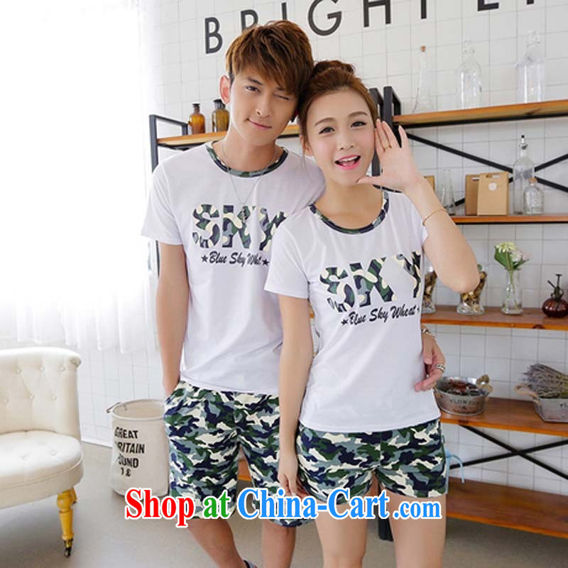 2015 summer new Couple T-shirt short sleeve with Korean Beauty couples camouflage shorts, uniform blue male XXL (T shirt + shorts)