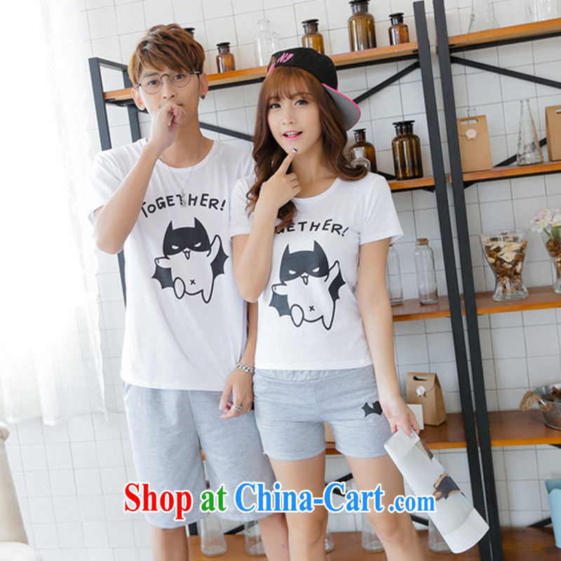 2015 Korean couples with summer men and women half sleeve kit qlz bat stamp duty short-sleeved pants class students serving red T shirt + black trousers male XXL