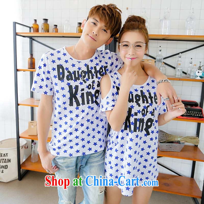 Couples with summer new 2015 Openwork Korean version loose short-sleeve men and women couples T-shirts picture color male XXL