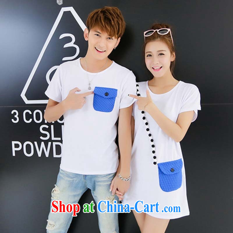 Couple the 2015 Korean new summer pocket round-collar relaxed casual men and women short-sleeved T-shirt black male XXL