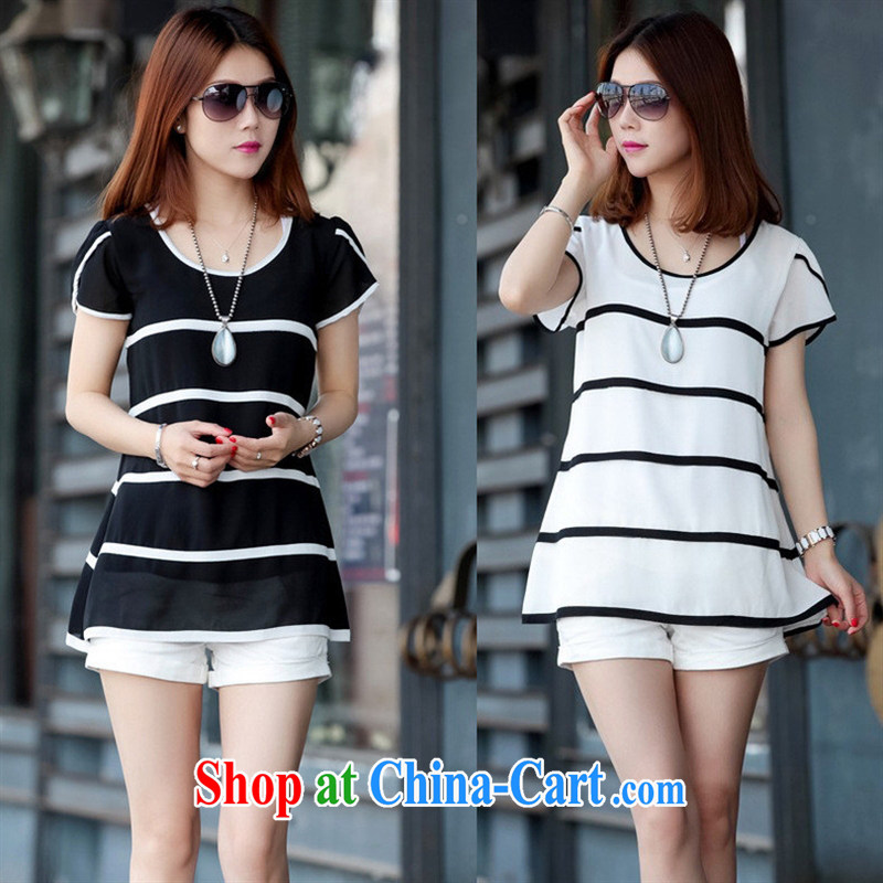2015 New Beauty video thin loose the fat increase code T-shirt summer, short-sleeved snow woven shirts ladies black 2 XL