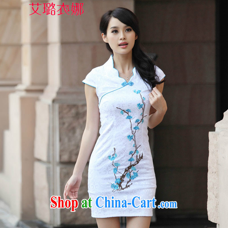 The opportunity of Tsing Yi 2015 sense of beautification replica embroidery summer skirt outfit improved cheongsam stylish blue XL