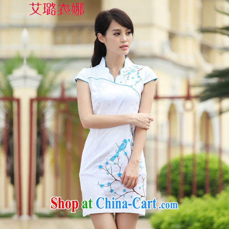 The opportunity of Tsing Yi 2015 China wind embroidery summer cheongsam dress improved stylish dresses sexy dresses replica black-and-white XL