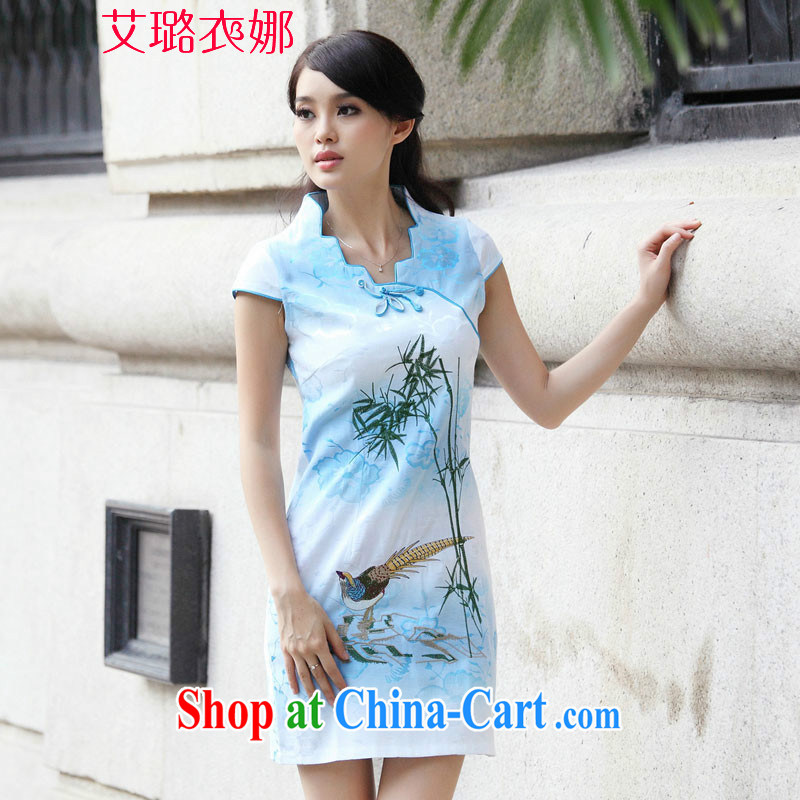 The opportunity of Tsing Yi 2015 New Female with short-sleeve retro cheongsam dress summer fashion dresses blue XL