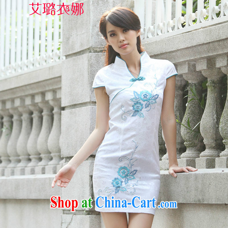 Take the garment of beauty 2015 summer short-sleeved qipao idyllic wind new cheongsam Chinese fashion cheongsam floral XL