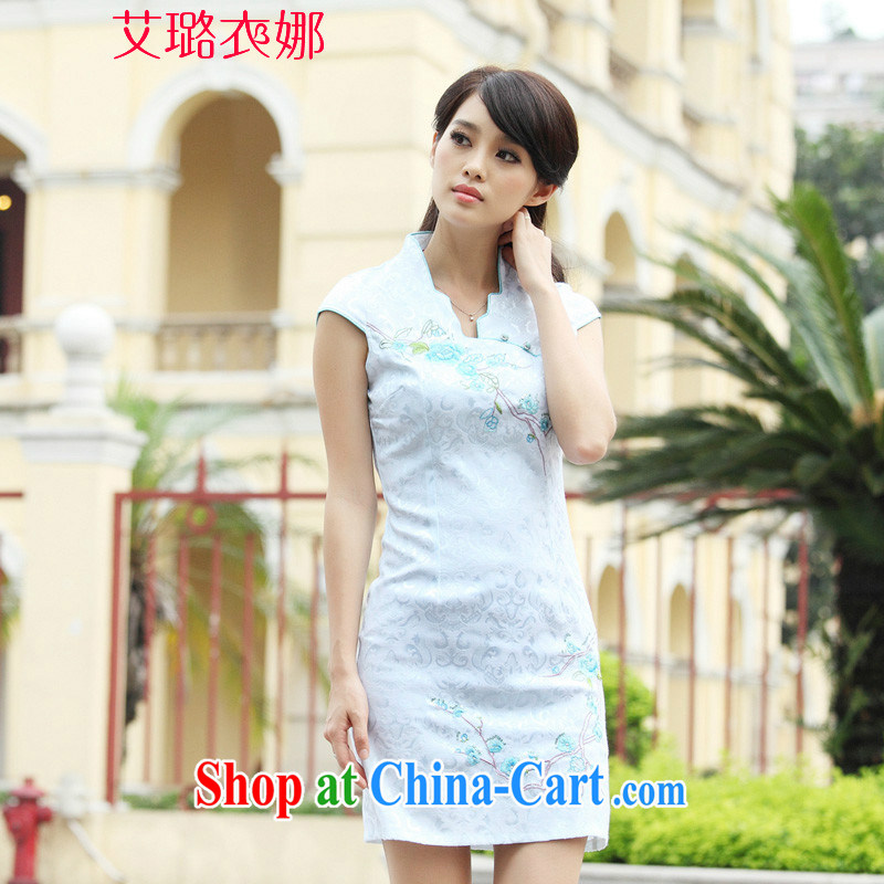 The opportunity of Tsing Yi 2015 cheongsam dress summer summer new stylish short retro stamp beauty dresses, blue XL