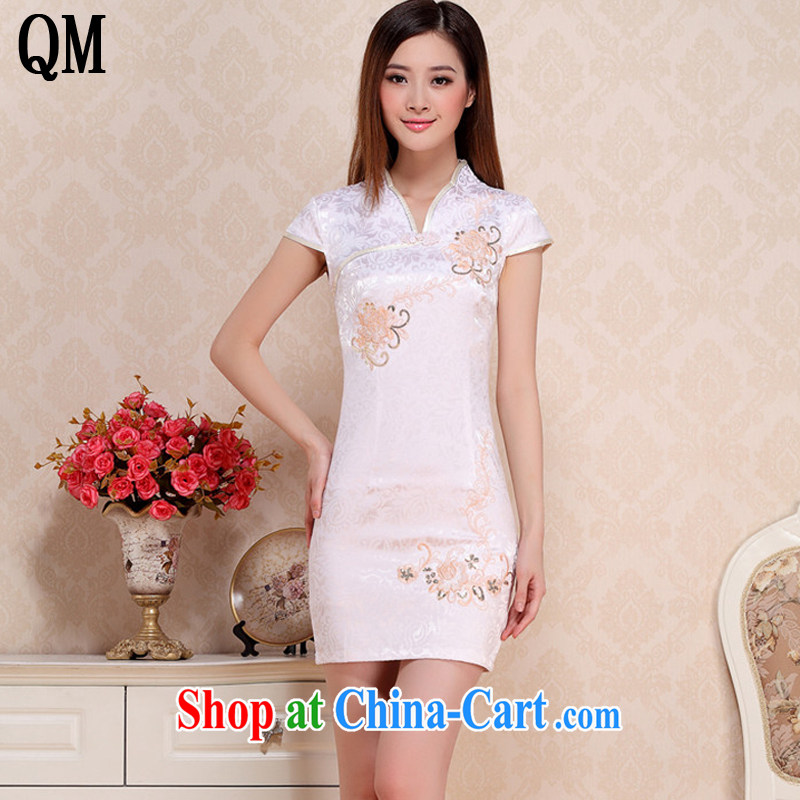 End very short cotton retro dresses elegance beauty white cheongsam dress Ethnic Wind AQE 0739 apricot XXL