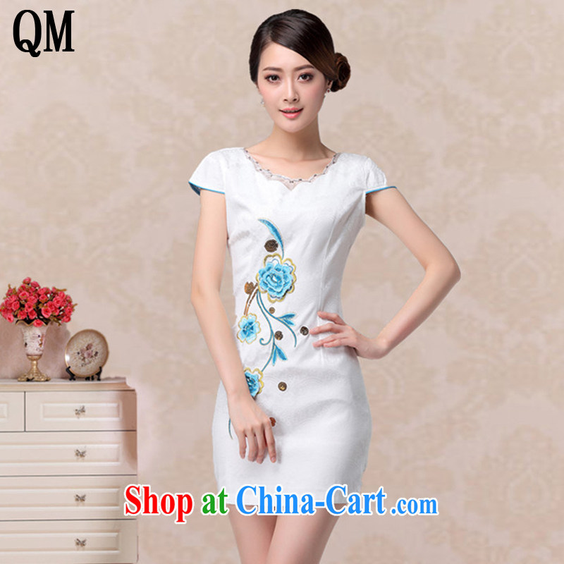 light at the retro girl summer embroidered short dresses, fashionable round-collar dresses, dresses AQE 807 blue XXL