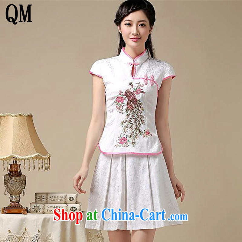 End a qipao Kit two kits summer retro College wind stylish Korea Tang replace AQE 8022 white XXL