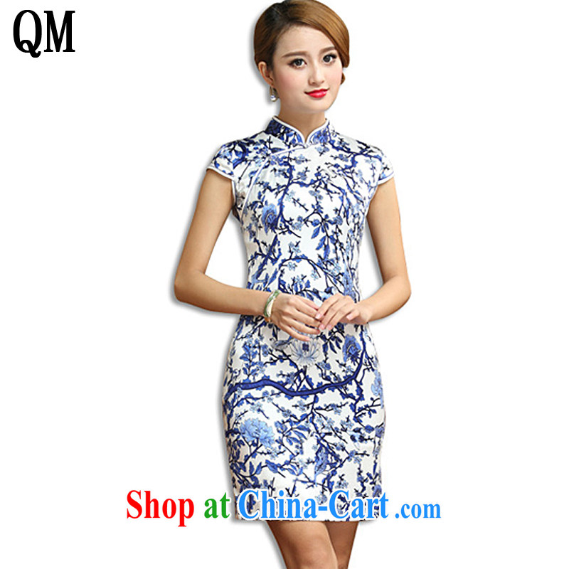 Shallow end antique porcelain was Silk Cheongsam elegance beauty short cheongsam dress sauna Silk Dresses AQE 011 blue and white porcelain XXXL