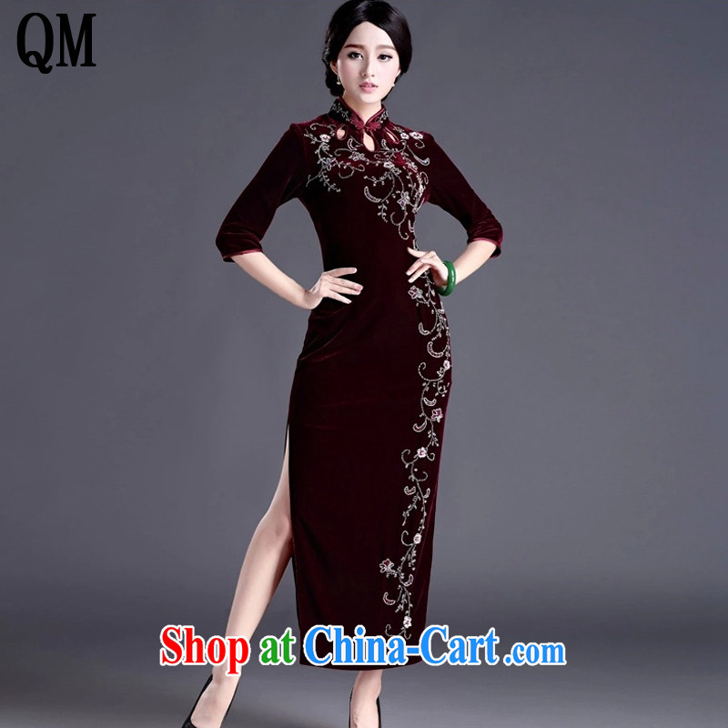 The end is cultivating the cheongsam dress code length, the velvet cheongsam dress MOM retro wedding dress uniform toast AQE 012 wine red cuff in XXXXL
