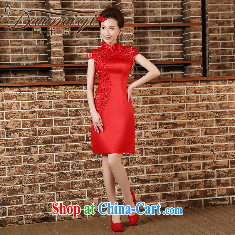 Toasting Service Bridal cheongsam dress 2015 new spring and summer red retro short beauty bridal wedding dresses red XXL