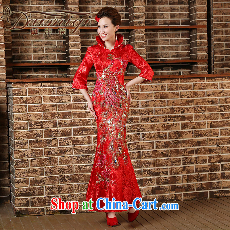 2015 lace improved cheongsam beauty crowsfoot length in paragraph cuff at night high-collar bows welcome wedding red XXL