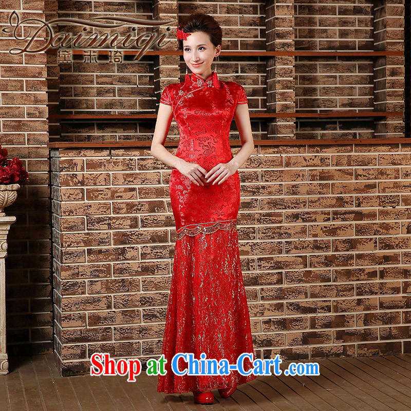 Toast clothing qipao marriages crowsfoot long wedding retro improved 2015 spring, Phoenix wedding dresses red XXL