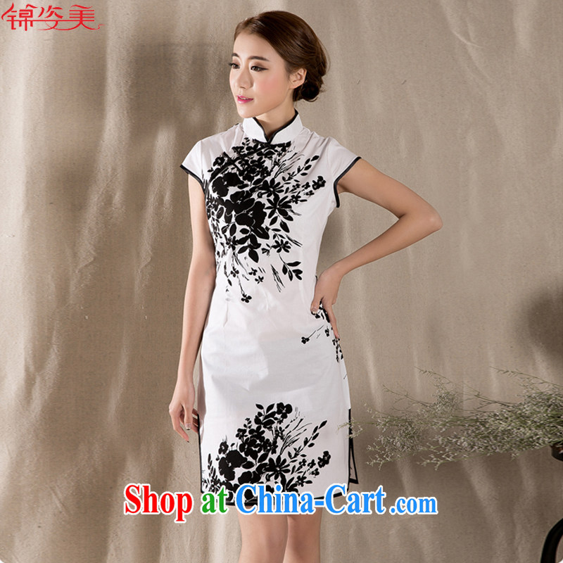 kam beauty summer 2015 new stylish and refined antique cheongsam dress China wind M 1394 white XXL