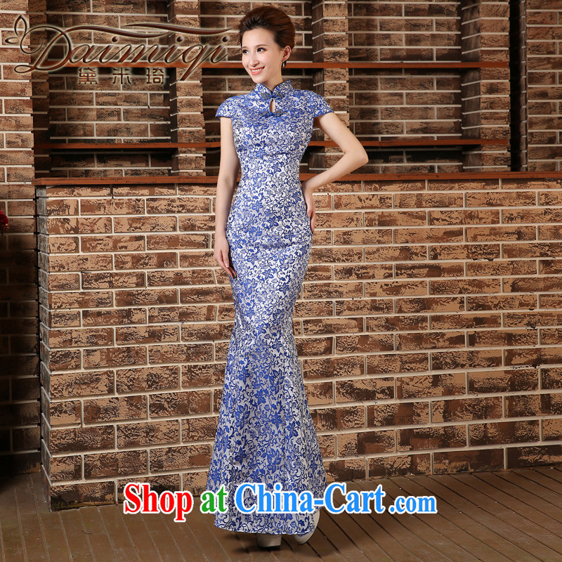 2015 spring and summer new blue and white porcelain beauty outfit crowsfoot long lace embroidery on-chip performance outfit blue XXL