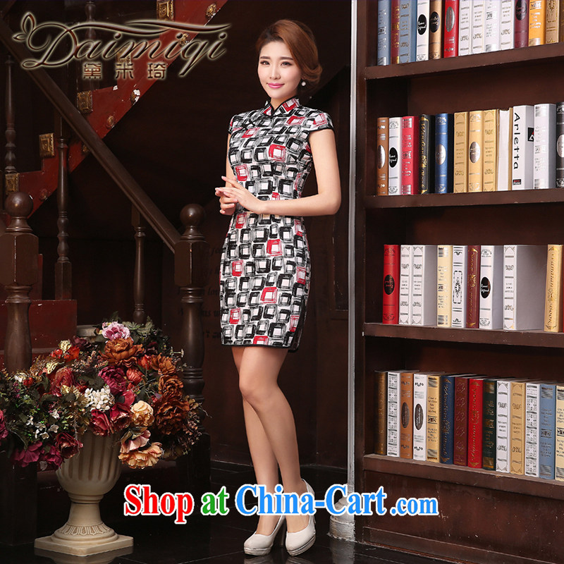 Dresses 2015 spring and summer new heavy silk sauna silk retro dresses skirts short cheongsam dress cheongsam black XXL