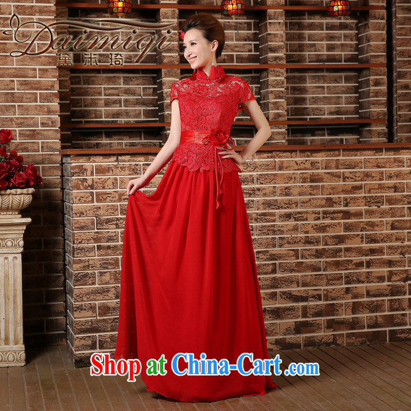 2015 New Red bride's toast serving short-sleeved short-sleeved and stylish Long, Sau San wedding cheongsam dress spring and summer red XXL