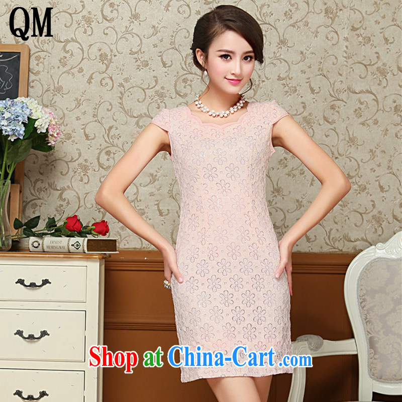 The end is stylish and sexy lace cheongsam dress retro improved daily short cheongsam dress elegance AQE 8026 pink XXL