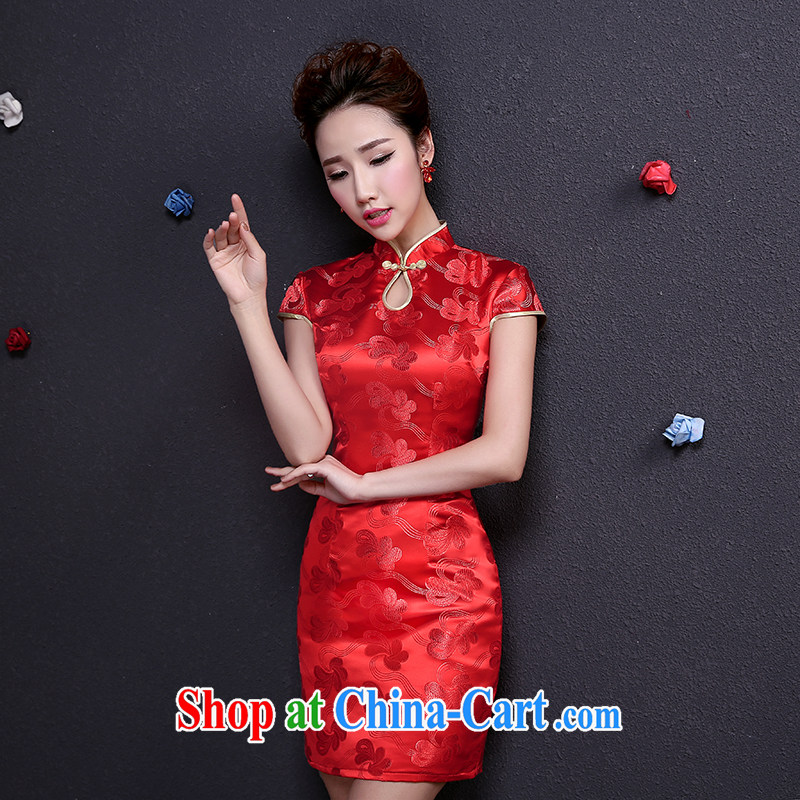 The married Yi embroidery wedding bridal dresses toast clothing Red Beauty short wedding improved Chinese Dress cheongsam dress red XXL