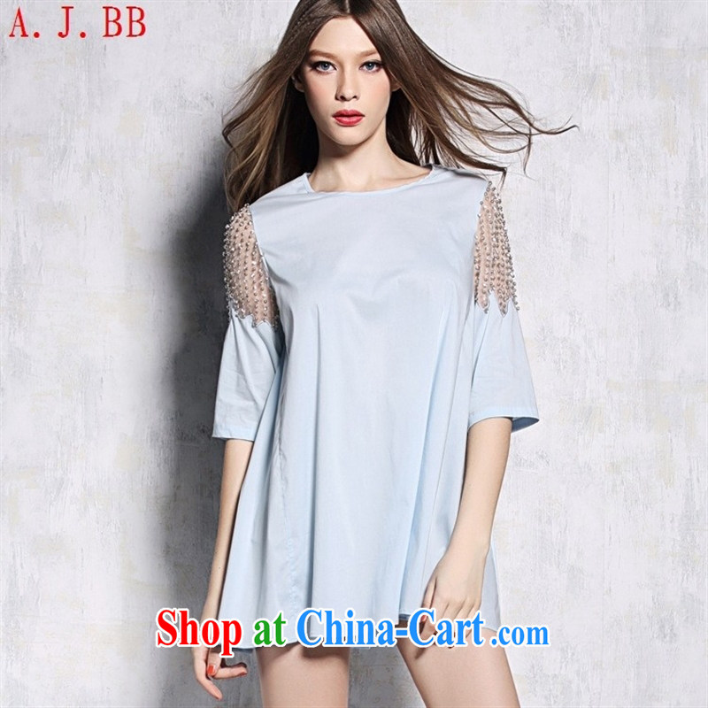 Black butterfly European site women summer 15 New staple-ju Web yarn cuff relaxed and comfortable female T pension 040,826 light blue L