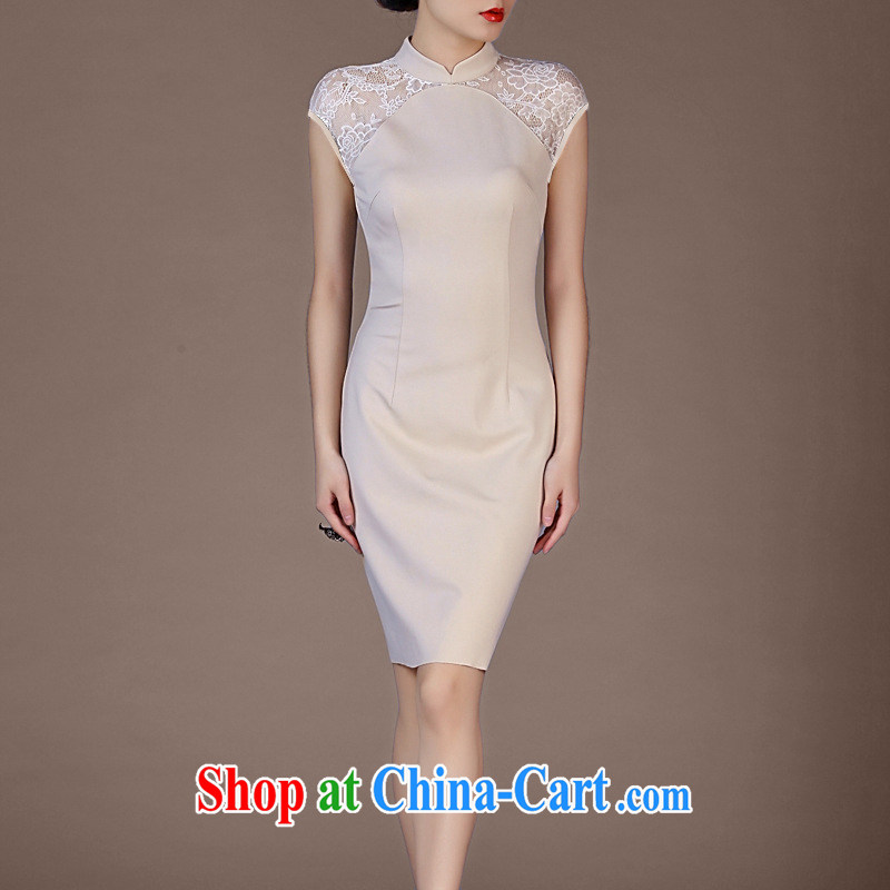 Vasco da Gama, The 2015 summer new cheongsam dress attire lace sleeveless package and dresses apricot XXXL