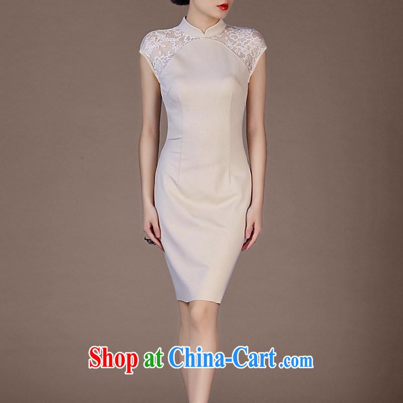 Vasco da Gama, The 2015 summer new cheongsam dress attire lace sleeveless package and dresses apricot XXXL