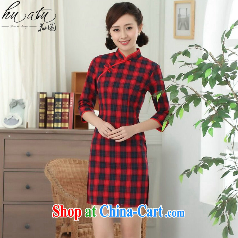 Take the Chinese qipao summer new, female Chinese Korea improved, for the hard-pressed cotton plaid cuff in qipao such as the color 2 XL