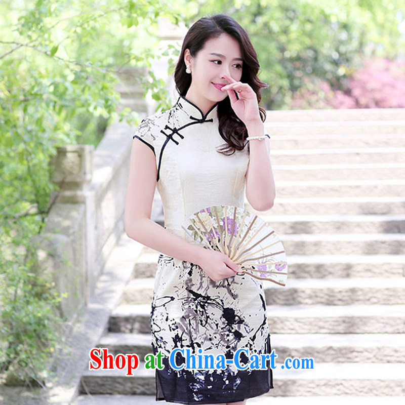The Timorese Connie 2015 Gangnam wind summer new high-collar-tie painting stamp cheongsam dress ink spend XL