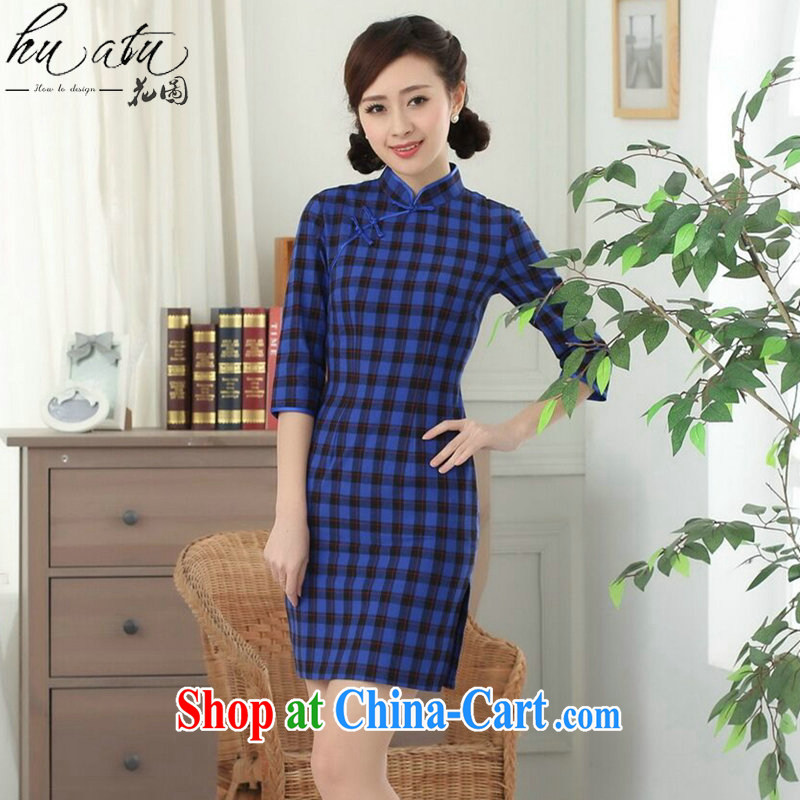 Take the new Chinese cheongsam dress Chinese improved, for the hard-pressed Korea arts tartan cotton in qipao cuff figure color 2 XL