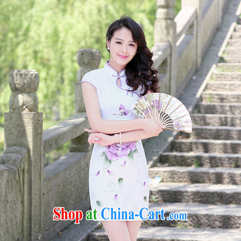 The Timorese Connie 2015 spring and summer new high-collar-tie stamp duty the lotus in Gangnam and fresh package and cultivating daily outfit dress purple Peony S