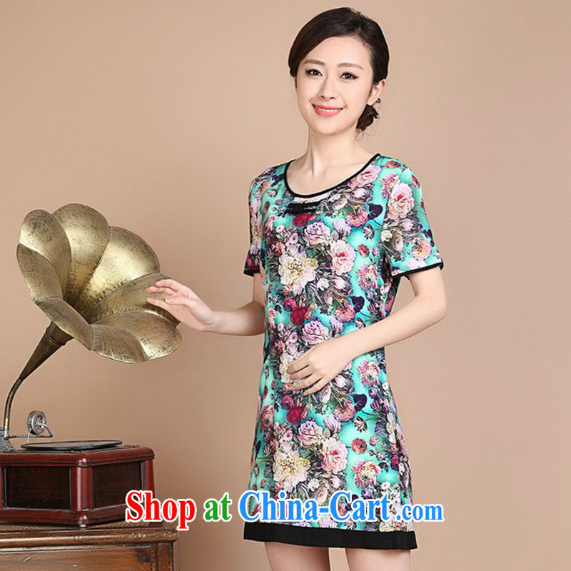 The Timorese Connie MOM replacing loose the code summer new retro Tang wind cotton thick stamp upscale dress green XXL