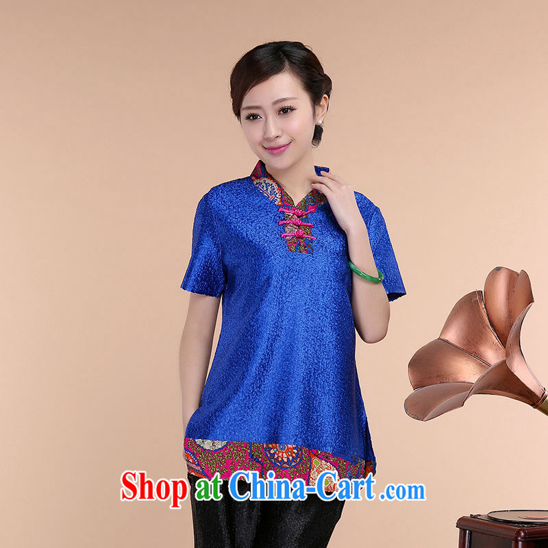 Yu Hong Yeon 2015 spring and summer new high-end silk wrinkled mother loaded the code short-sleeved T-shirt blue XL