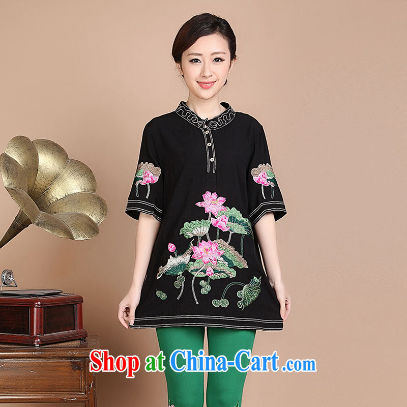 Yu Hong-yeon summer 2015 New National wind Lotus embroidery, older mothers in the long summer short sleeve shirt T black XL