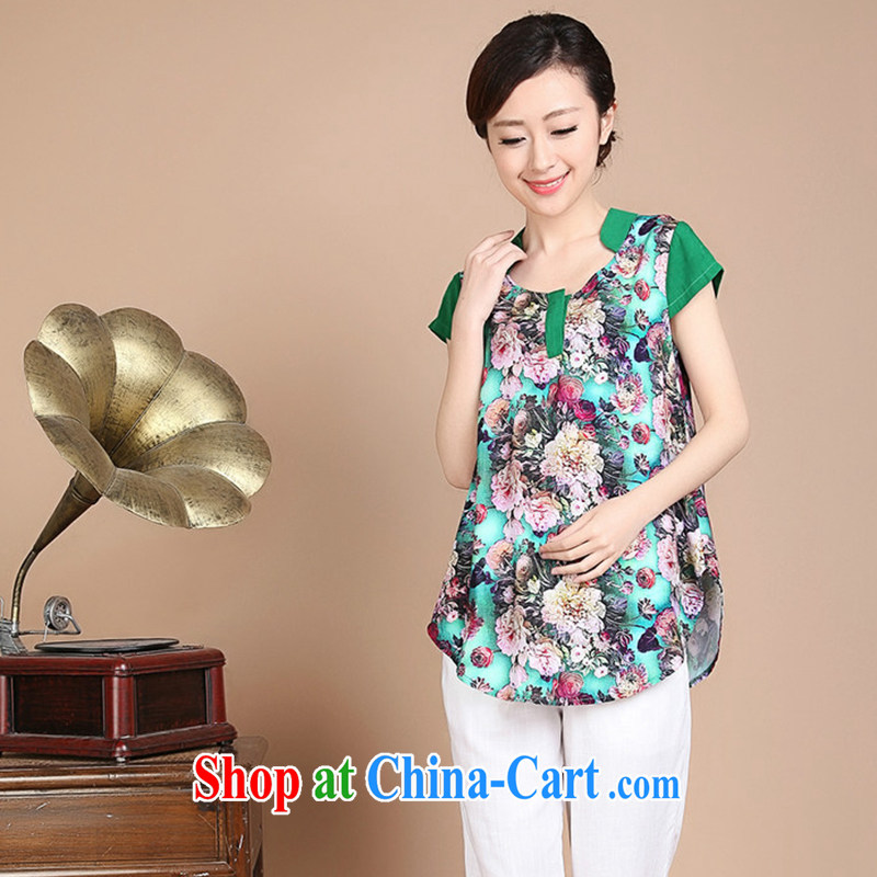 Yu Hong Yeon 2015 summer new Yunnan ethnic wind mother load cotton the stereo trim short sleeve large code T cuff female Green L