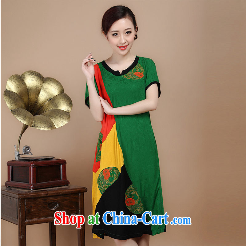 Yu Xiang Yu-na 2015 summer new, older women with Chinese cotton jacquard large code spell-colored short-sleeved dresses green L